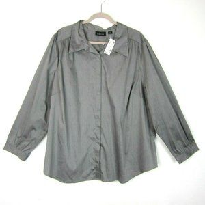 AVENUE 26 28 Button Front Blouse Top Gray NEW